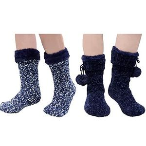 Jane & Bleecker 2 Pair Slipper Socks for Ladies